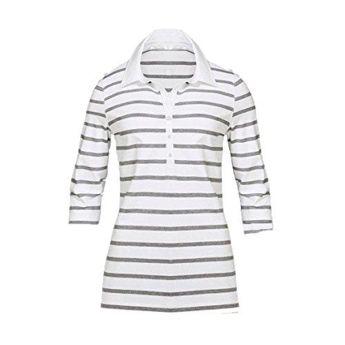 Modisches Damen Polo Shirt mit 3/4 Arm in Navy Blau, Gelb und Weiß mit grauen Streifen Größen M-XL (L, Weiß)