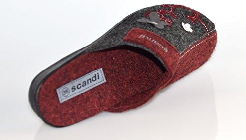 BTS filzpantoffeln/filzhausschuhe chauds pour femme avec semelles pour stable rouge/gris-taille 36 à 41 Rouge - Rouge