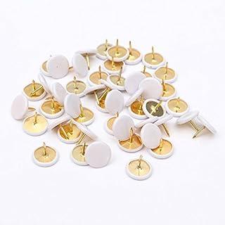 AUAUDATE 50pcs White Drawing Pins Push Pins Thumb Tacks for Notice Board Cork Board Paper