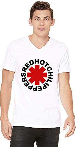 Red Hot Chili Peppers Logo Men V-Neck T-Shirt Stylish Fashion Fit Custom Apparel by X-Large (Red Hot Chili Peppers-logo)