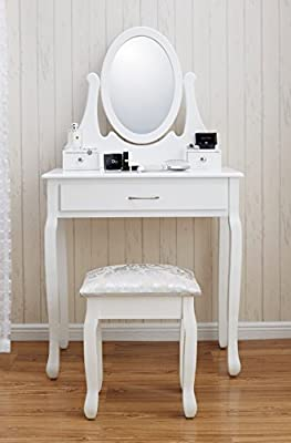 New Amalfi | Dressing Table, Mirror & Stool Set| Shabby Chic | Bedroom Dresser | Vanity