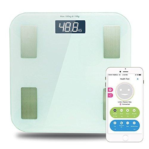 Smart Personen Waage Digitale, Gewicht Körper Fett BMI Analyse mit APP, Wireless Bluetooth Anschluss With LCD Display, Körper Wasser Muskel und Knochen Datum Verfolgung (Waage Wireless)