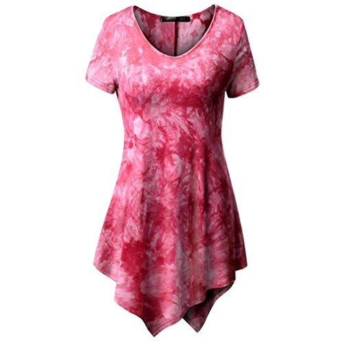 MRULIC Damen Lose Asymmetrisch Curved Rock Oberteile Bluse Rundhals Casual Loose Kleid (M, Rosa)
