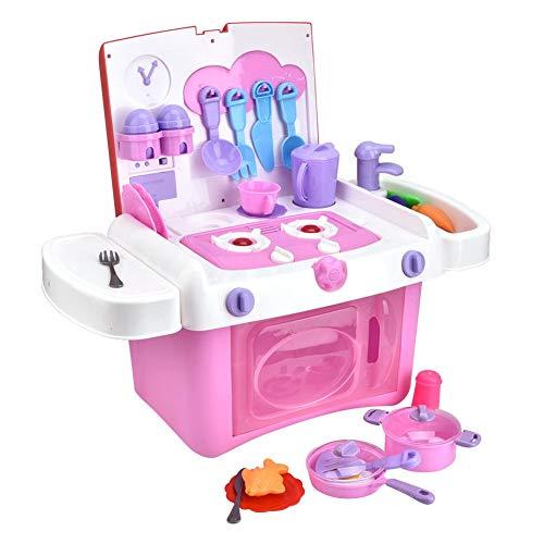 Zerodis Küche Spielzeug 35 STÜCKE Tragbare Küche Kochen Set mit Lichtern Sound Kleinkind Geschenk Spielzeug für Kinder(Rosa)