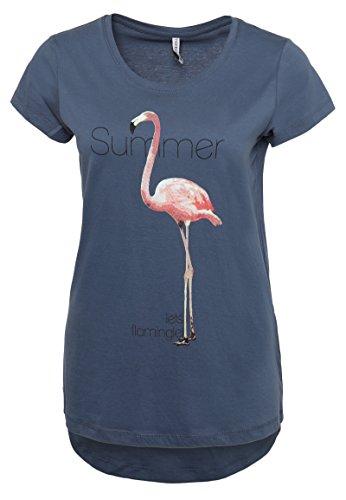 La-la-print-rock (Stitch & Soul Damen T-Shirt mit Flamingo Print | Elegantes Sommer Basic Shirt mit Kurzen Ärmeln Middle-Blue M)