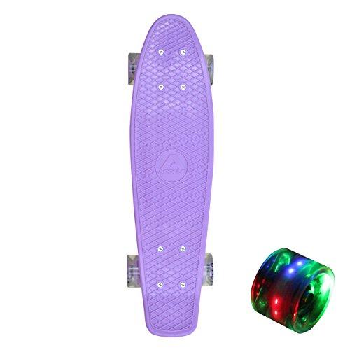 Apollo Fancy Board 57 cm con o senza ruote luminose led, colore: porpora, cuscinetti a sfera Abec 9 incl. assali in alluminio, Mini-Vintage-Cruiser-Board con deck in legno o plastica fino a