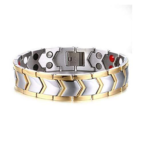YOUZHA Armbänder Männer Edelstahl Chian ArmbandGesundheit Magnete/Negative Ionen/Germanium/Fernes Infrarot Goldfarbe Titan Armband, Gold