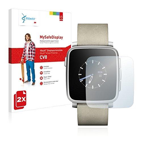 2x Vikuiti MySafeBildschirm CV8 Bildschirmschutz Schutzfolie für Pebble Time Steel (Ultraklar, strak haftend, versiegelt Kratzer)