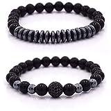 Herren Armband Schwarz mit Perlen, 2 pack - Armband Männer, Perlenarmband Schwarz (Schwarz)