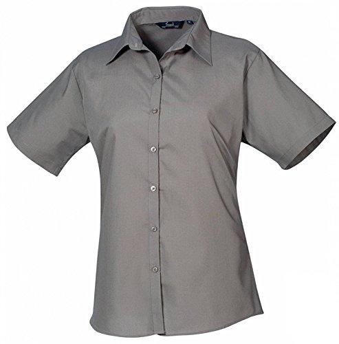 Ladies Poplin Blouse Short Sleeve (Damenbluse/Kurzarm) Dark Grey
