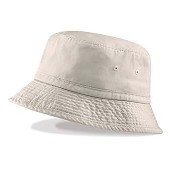 BUCKET HAT SUN HAT 100% COTTON CHINO - 3 COLOURS (S/M - 56cm, STONE)