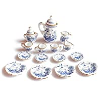 SODIAL(R) 1/12th Dining Ware China Ceramic Tea Set Dolls House Miniatures Blue Flower
