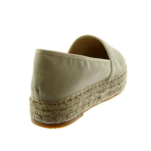 Angkorly Damen Schuhe Espadrilles - Slip-On - Seil Blockabsatz 3.5 cm Beige