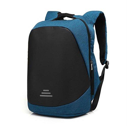 Große Logo-schloss (WYXIN 17-Zoll-Anti-Diebstahl-Laptop-Rucksack Rucksack mit Schloss & USB-Anschluss Audio Outdoor Travel Business Schultasche , Blue , 15inch)