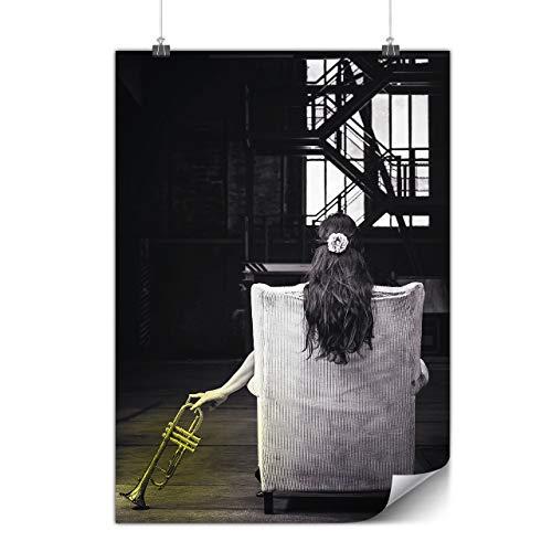 Wellcoda Trompete Foto Städtisch Musik Plakat Musik A0 (119cm x 84cm) Glänzend schweres Papier, Ideal für die Gestaltung, Einfach zu hängen Kunst