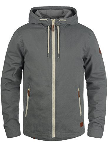 BLEND Bobby Herren Übergangsjacke Stoff-Jacke mit Kapuze aus 100% Baumwolle Granite (70147)
