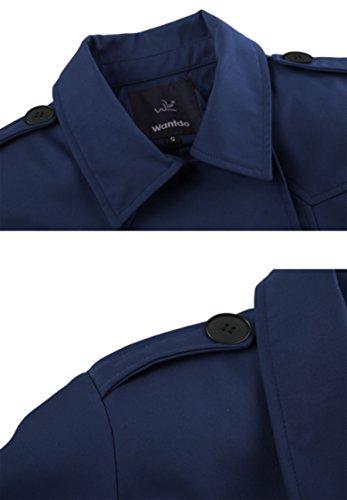 Wantdo Damen Mantel Zweireiher Lange Trenchcoat mit Gürtel Navy Small - 3
