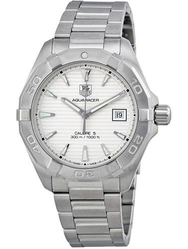Tag Heuer AQUARACER WAY2111.BA0910 Silver Steel Bracelet & Case Anti-Reflective Sapphire Men's Watch