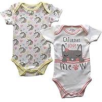 Jujak Baby Bodysuit Cotton - Pack of 2 (6-9 Months, Girls - Design 1)