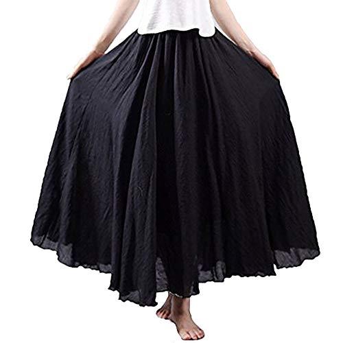 Frauen Bohemian Style elastische Taille Band Baumwolle Leinen Lange Maxi Rock Kleid
