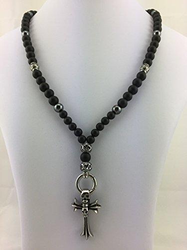 Gothic-rosenkranz-halskette (Halskette Y-Kette Rosenkranz Perlenkette ONYX schwarz matt black Totenkopf Skull Schädel Kreuz Biker Männer Herren Gothic freie ANHÄNGERAUSWAHL NEU K_85)