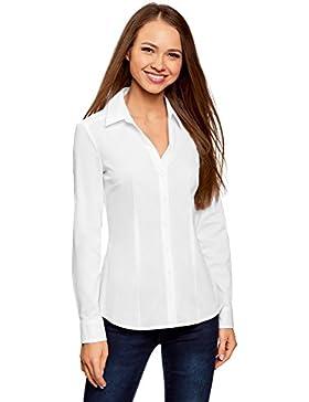 oodji Collection Mujer Camisa de Algodón con Cuello Pico