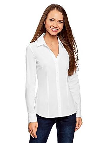 oodji Collection Damen Baumwoll-Bluse mit V-Ausschnitt, Weiß, DE 44 /