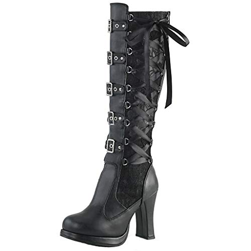 Tailongl Womens Knee High Lace Up Calf Biker Ladies Black Zip Punk Military Combat Army Block Heel Boots Fashion Women Cosplay Cross Tied Leather Kneeth Platform Boots Gothic Bows Shoes