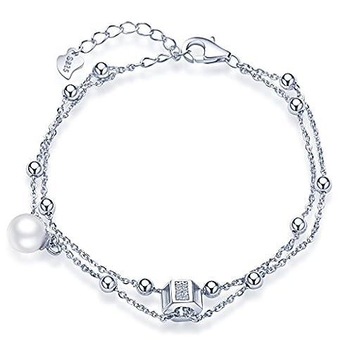 Unendlich U Fashion Kubisch Sechseck Beads Damen Charm-Armband 925 Sterling Silber Zirkonia Perle Armkette Strangarmband Verstellbar Armkettchen, Silber