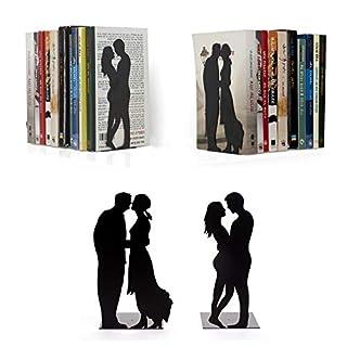 """Artori Design  """"By the Book""""   Liebe & Romantik   Dekorative Metall-Buchstütze   Zwei verliebte Paare   Dekoration für Bücherregal"""