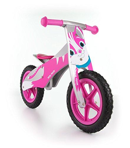 Milly Mally Kinder Laufrad aus Holz, Rädern 12 Zoll mit Luftreifen (Ventil) - 9 Verschiedene Designs , Model:Cat pink