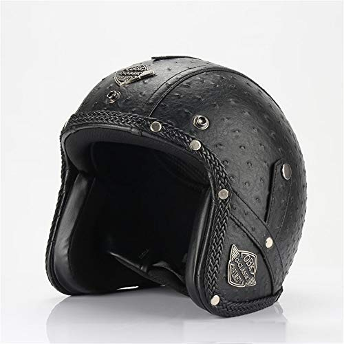 Casco del Motorista De Harley-Davidson, Casco Retro Hecho A Mano De La Motocicleta, Casco con La Máscara, Casco De La Bici De Montaña,E