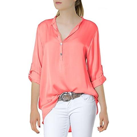 CASPAR Blusa para mujer, manga larga, diseño de degradado retroussables camisa BLU003, varios