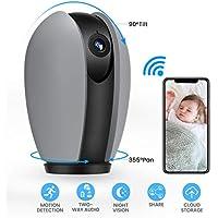MECO ELEVERDE Caméra Surveillance WiFi 1080p Caméra IP de Sécurité HD Rotatif pour Bébé / Vieillard / Pet Caméra WiFi Interieur sans Fil Wireless Home Security Monitor avec Fonction D'alarme