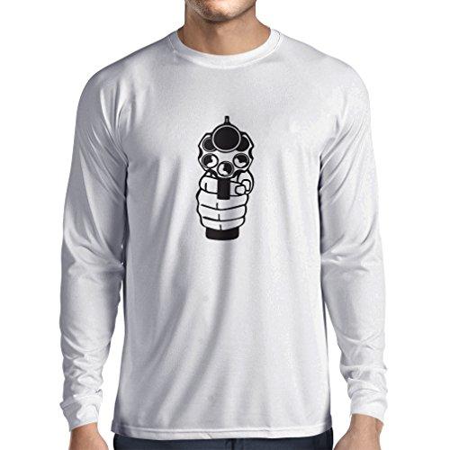 Langarm Herren t Shirts Ich schieße um zu töten! Revolverheld, Revolver, Polizeigeschenk (Small Weiß Schwarz) -