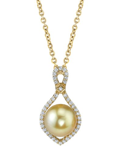 Golden South Sea Cultured Pearl & Diamond Ruth Pendant in 14K Gold