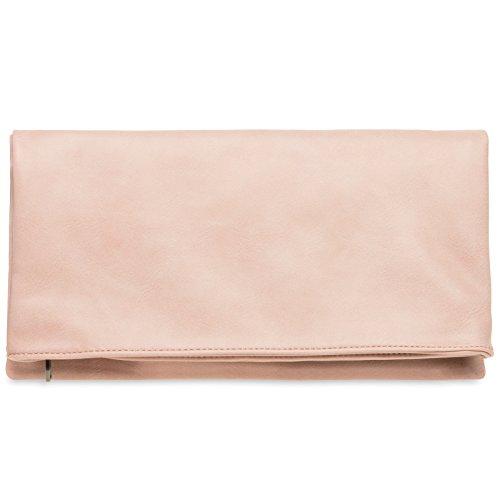 CASPAR TA392 elegante Damen Briefumschlag Envelope Clutch Tasche Abendtasche, Farbe:rosa;Größe:One Size (Clutch)
