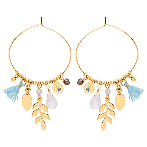 Front Row Gold Colour Blue Tassel and Charms Hoop Earrings