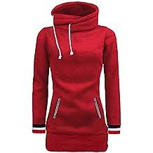 Beauty Top Femmes Sweat à Capuche Col Haut Solid Manches Longues Chemisier  Pull Pullovers Tops avec d1d6a3e1302