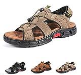 Gracosy Sandales de Randonnée Hommes, Chaussures de Marche Sports Été en Cuir Synthétique Bout Ouvert à Scratch Confortable Légère pour Trekking Garçons ,Taille Fabricant (CN) 44=43 EU,Marron