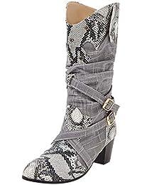ca4e3fba2 LuckyGirls Botas para Mujer Botas de Nieve de Media Caña Patrón de la Serpiente  Patchwork Hebilla
