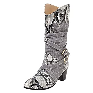 JIANGfu Fashion Women Winter Snake Pattern Patchwork Buckle Decor Cowboy Boots Slouch Boot Ladies Leisure High Heels Pointed Toe Mid Boots Casual Shoes