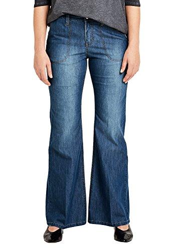 TRIANGLE Damen Curvy Fit: Wide Leg-Jeans blue denim stretch 46.34 (Jeans Flare Leg Wide)