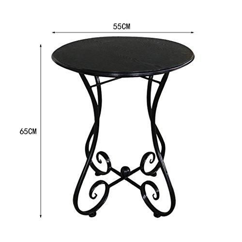 LXYFMS Européenne Table Basse en Fer Forgé Bois Simple Balcon Loisirs Table Ronde Coin Table Basse Coin Quelques Table Pliante (Couleur : C, Taille : 55 * 65CM)