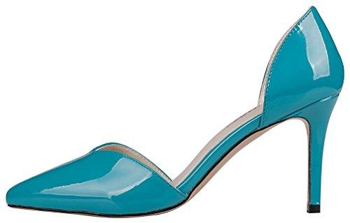 Calaier Femme Cabank 8.5CM Aiguille Glisser Sur Sandales Chaussures Bleu