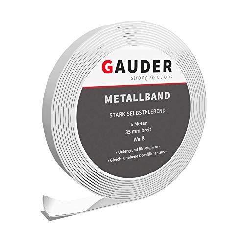 GAUDER Metallband selbstklebend weiß I Untergrund für Magnete I Magnethaftleiste I Magnethaftband I Ferroband I Gegenstück Magnetband Magnetstreifen I Eisenband Stahlband