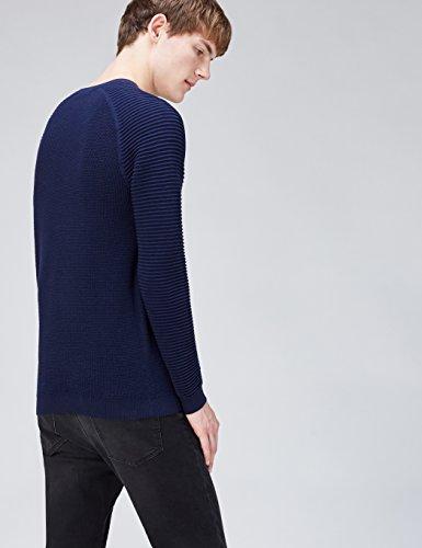 FIND Pullover Herren mit Waffelstruktur und gerippten Ärmeln Blau (Navy)