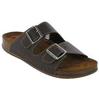 INBLU Sandals Leather Lined Slip On Twin Buckle Beach Mens (UK 11/EU 45, Dark Brown)