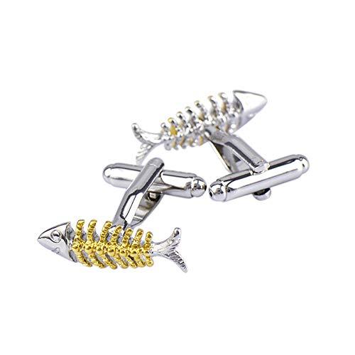 Daesar Hochzeit Manschettenknöpfe Silber Gold Fisch Knochen Herren Manschettenknöpfe Hemd Edelstahl Geschäft Geschenk -