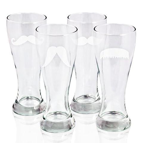Cathy's Concepts Gentleman's Mustache Pilsners Beer Glass, Set of